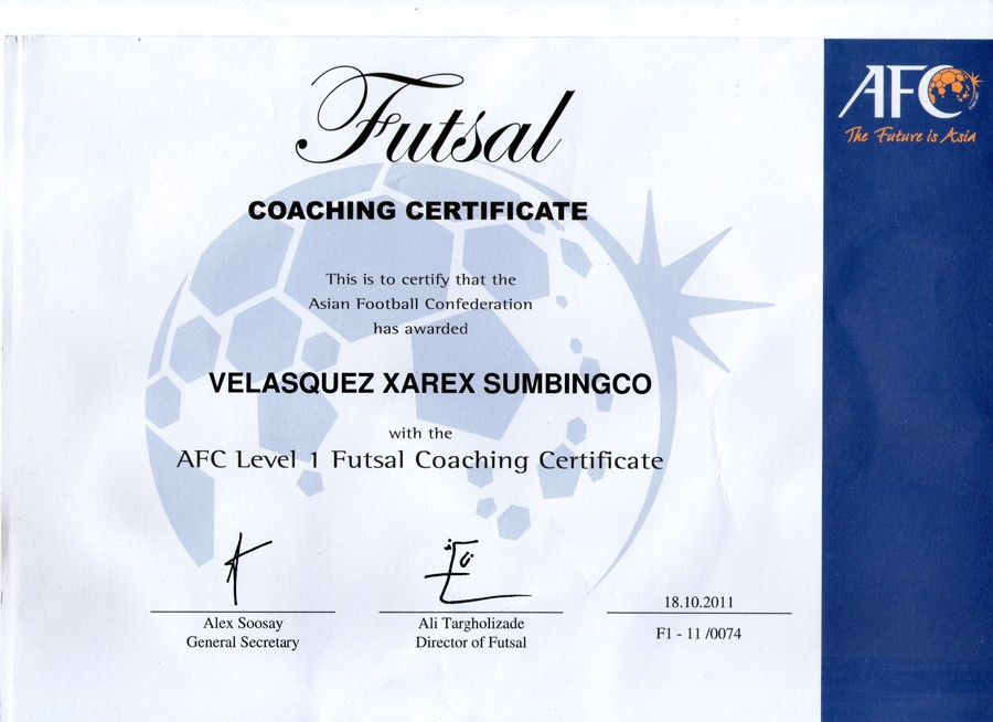 AFC Level 1 Coaching Certificate email | Pilipinas Futsal