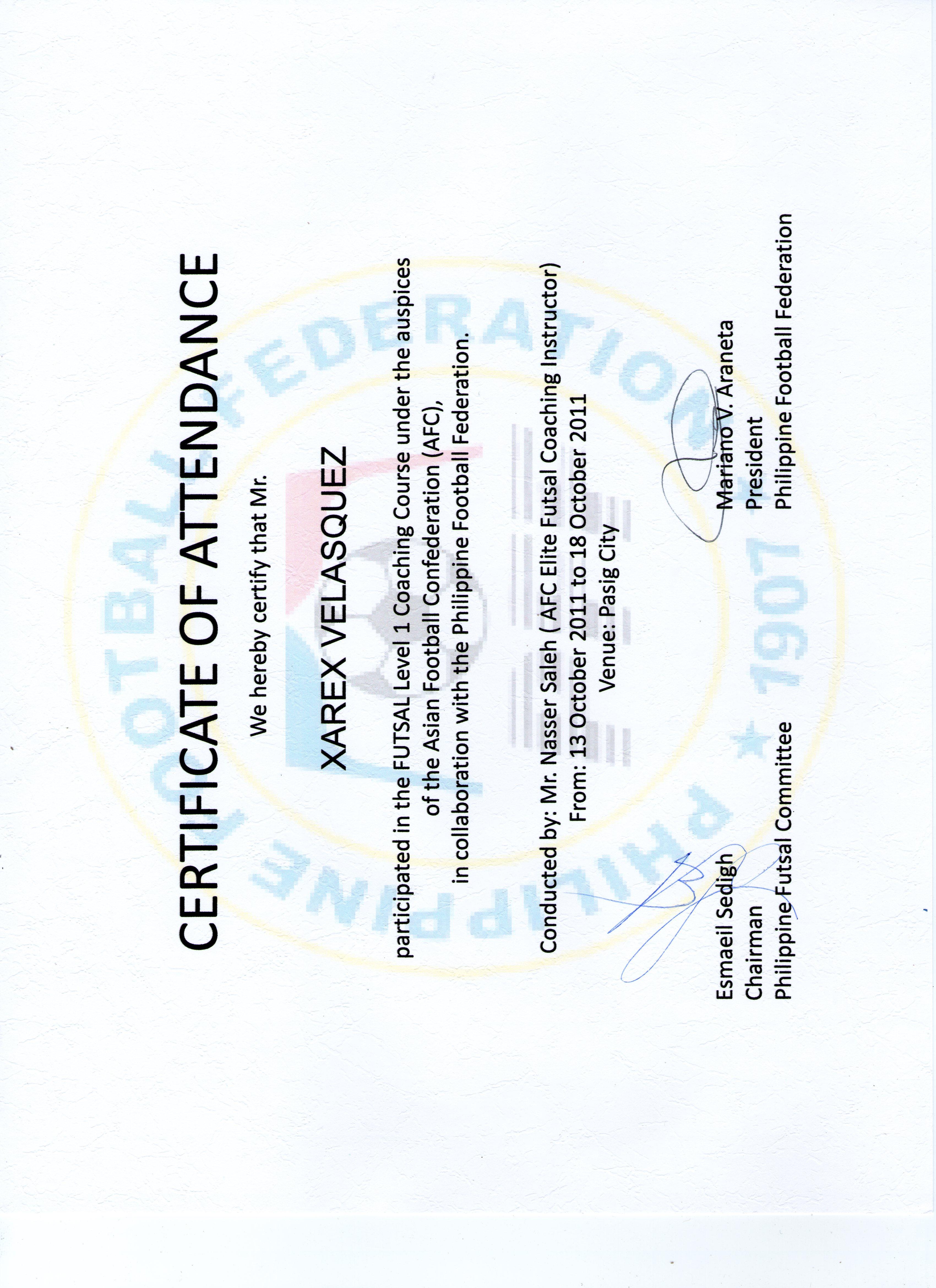 Xarex velasquez pilipinas futsal futsal coaching course 2011 certificate xflitez Choice Image