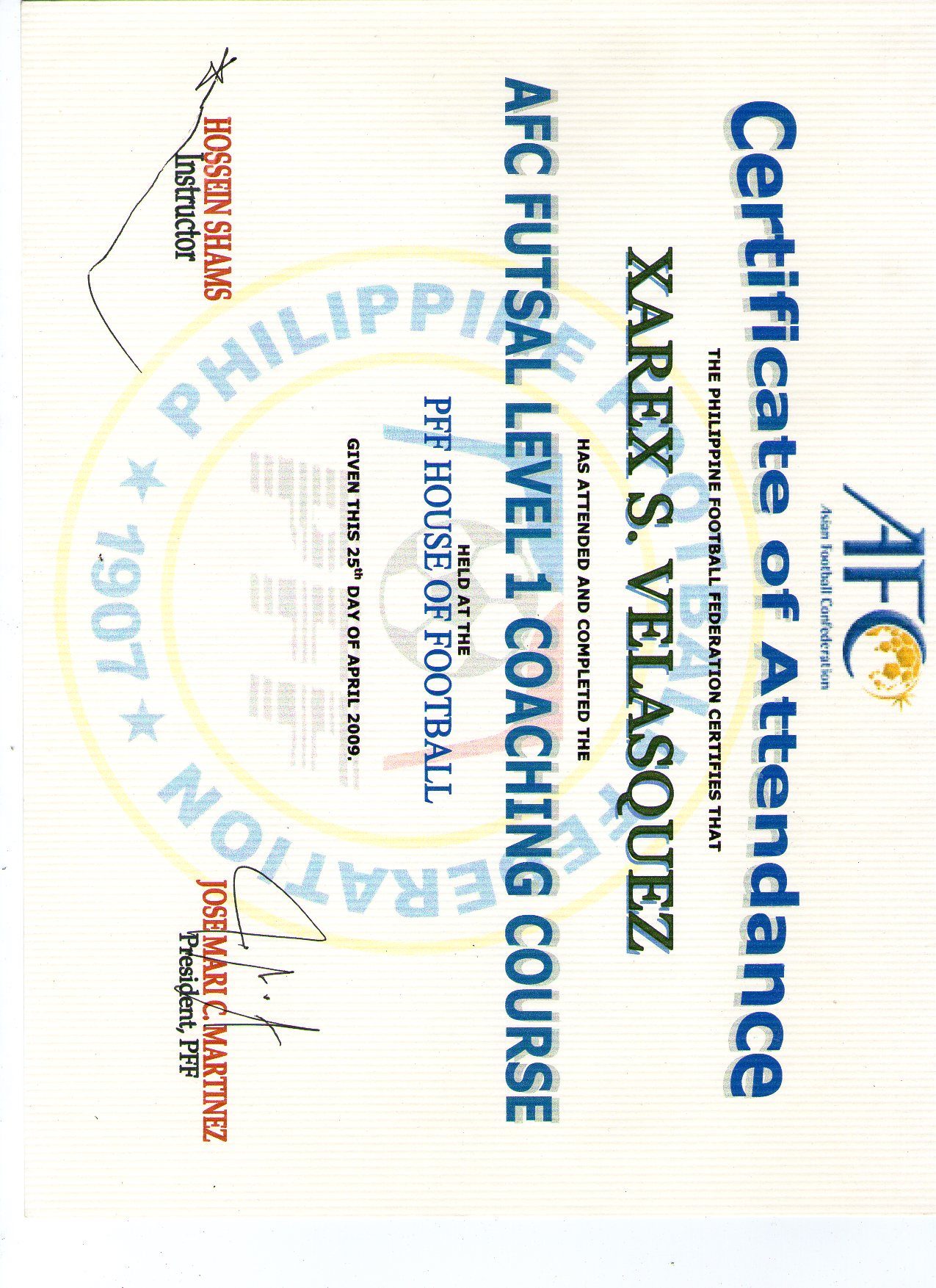 Xarex velasquez pilipinas futsal afc futsal level 1 coaching course xflitez Choice Image